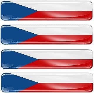 4 x 3D Czech Republic Flag Stickers Decals F 4