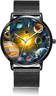 Customized Skull Flower Wrist Watch Unisex Analog Quartz Fashion Black Leather Strip/Black Dial Plate for Women and Men