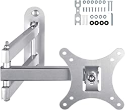 Tilt & Swivel Full Motion Articulating TV Wall Mount Monitor Bracket with 15'' Extension Arm for 10-30 Inch LCD LED OLED QLED Plasma Flat Curved Screen TVs, VESA 100x100mm 40Lbs Silvery