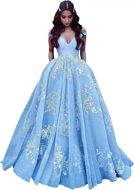 Changjie Women's Princesse Prom Dresses Lace Applique Long Formal Evening Gown