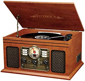 Innovative Technology VTA-200B MH Victrola Nostalgic Classic Wood 6-in-1 Bluetooth Turntable Entertainment Center, Ma...