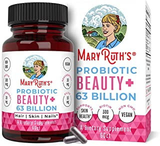 Vegan Probiotics for Women 63 Billion CFU by MaryRuth's - 2-in-1 Probiotic + Organic & Plant Based Collagen Immune Booster...