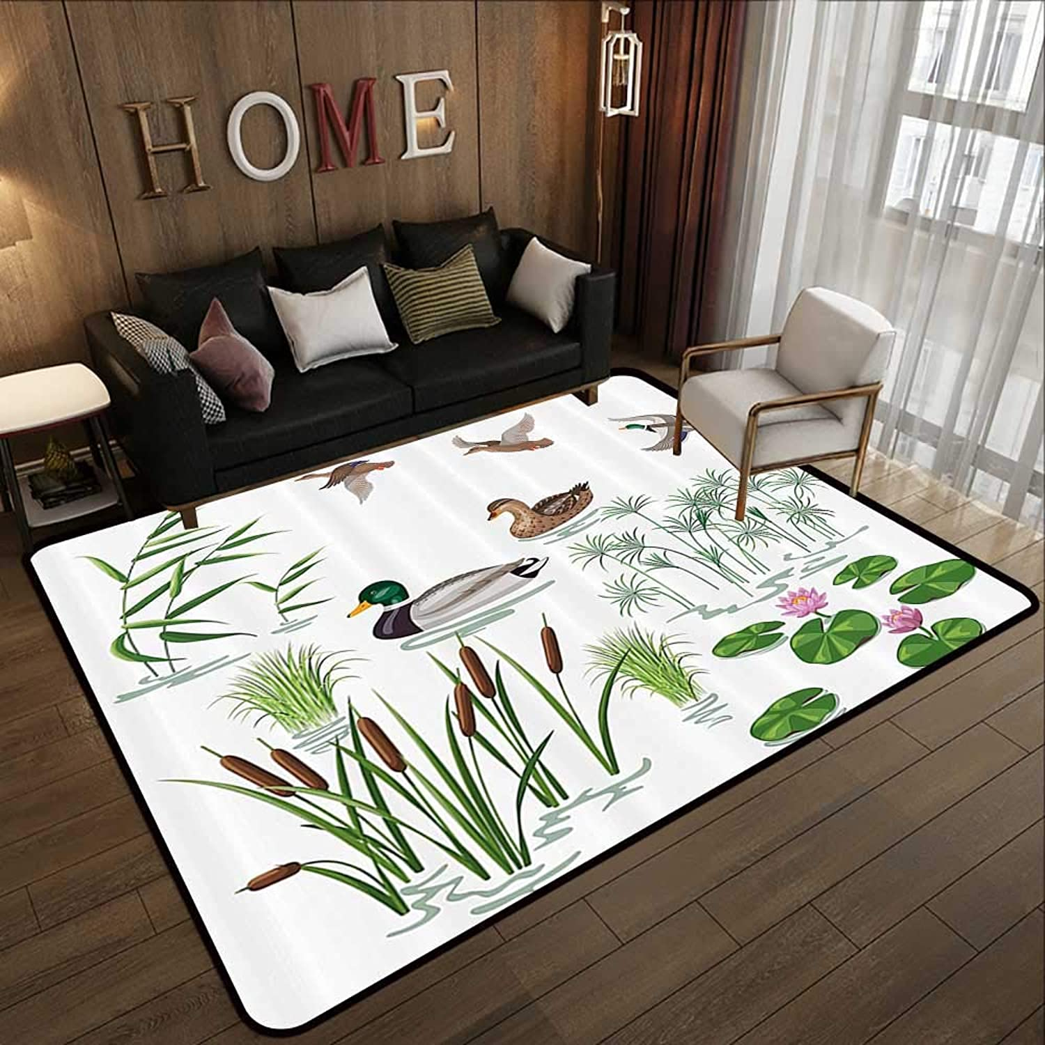 Carpet mat,Duck,Lake Animals and Plants with Lily Flowers Reeds and Cane in The Pond Nature Park Print,White Green 47 x 59  Floor Mat Entrance Doormat