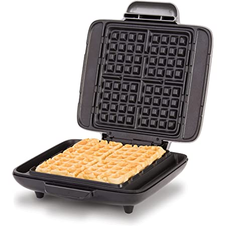Dash Deluxe No-Drip Belgian Waffle Iron Maker Machine 1200W + Hash Browns, or Any Breakfast, Lunch, & Snacks with Easy Clean, Non-Stick + Mess Free Sides, Silver