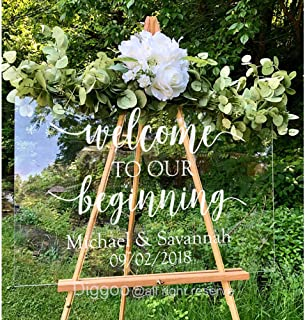 Welcome to Our Beginning Decal Wedding Welcome Sign Personalized Wedding Decal Rustic Wedding Decor for Acrylic Wooden (20