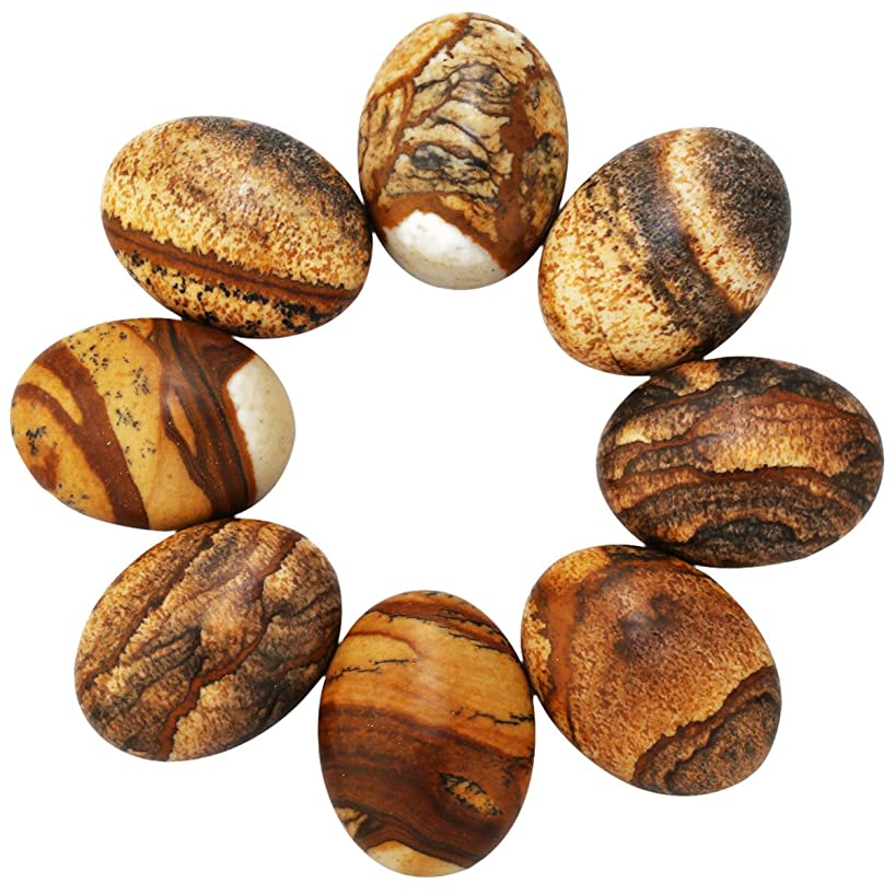 SUNYIK Picture Jasper Striped Agate Crystal Cabochons CAB for Jewelry Making,13x18mm,10Pcs