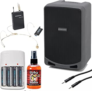 Samson Expedition XP106wDE Rechargeable Portable PA with Headset Wireless System and Bluetooth + Mic Sanitizer + Stereo Interconnect Cable + 4 AA Batteries & White Charger - Top Value Bundle