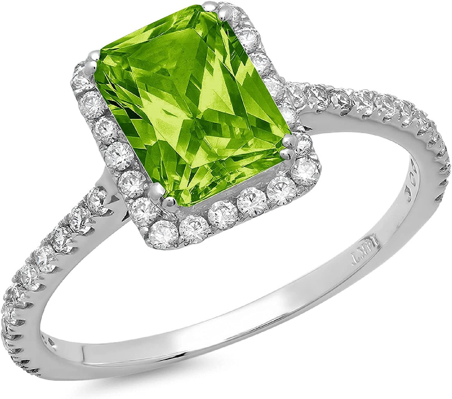 Clara Pucci 1.95 Brilliant Emerald Cut Solitaire Accent Stunning Genuine Flawless Natural Green Peridot Gem Designer Modern Ring Solid 18K White Gold