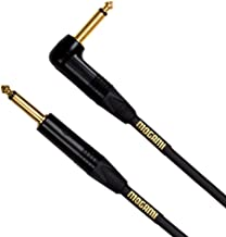 """Mogami Gold INSTRUMENT-10R Guitar Instrument Cable, 1/4"""" TS Male Plugs, Gold Contacts, Right Angle and Straight Connectors, 10 Foot"""