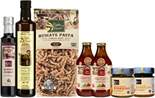 Papa Vince CLEAN FOOD Gift Basket   NON GMO ingredients grown in local Sicily, Italy   VEGAN, MEDITERRANEAN, LOW ACID, LOW CARB Diet   Tomato Sauce, Extra Virgin Olive Oil, Balsamic, Pasta, Marmalades