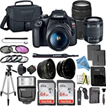 Canon EOS Rebel T7 DSLR Camera Bundle with Canon 18-55mm Lens + Canon EF 75-300mm f/4-5.6 III Lens + 2pc SanDisk 64GB Memory Cards + Accessory Kit