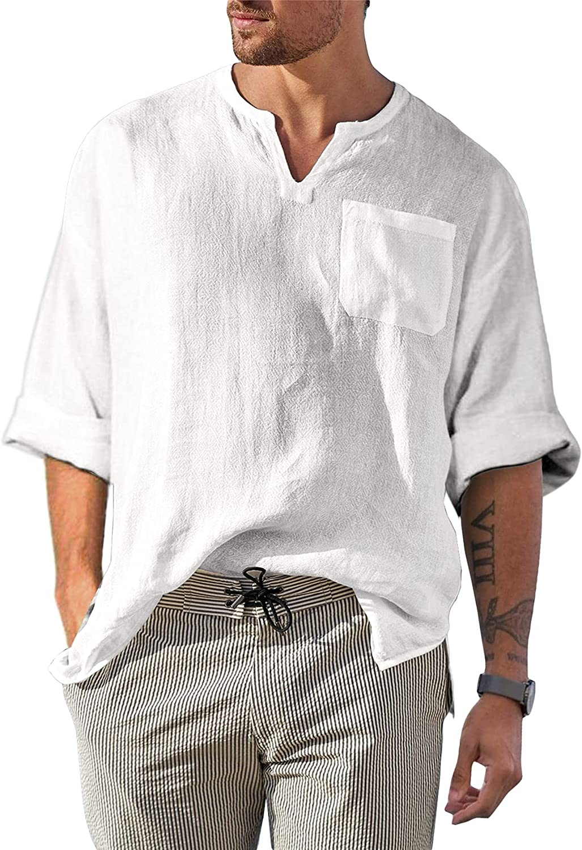 Bbalizko Mens National uniform free shipping Cotton Linen Henley Shirt V Long NEW Sleeve Casual Nec