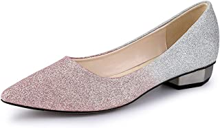Allegra K Women's Glitter Pointed Toe Ballet Flats Shoes
