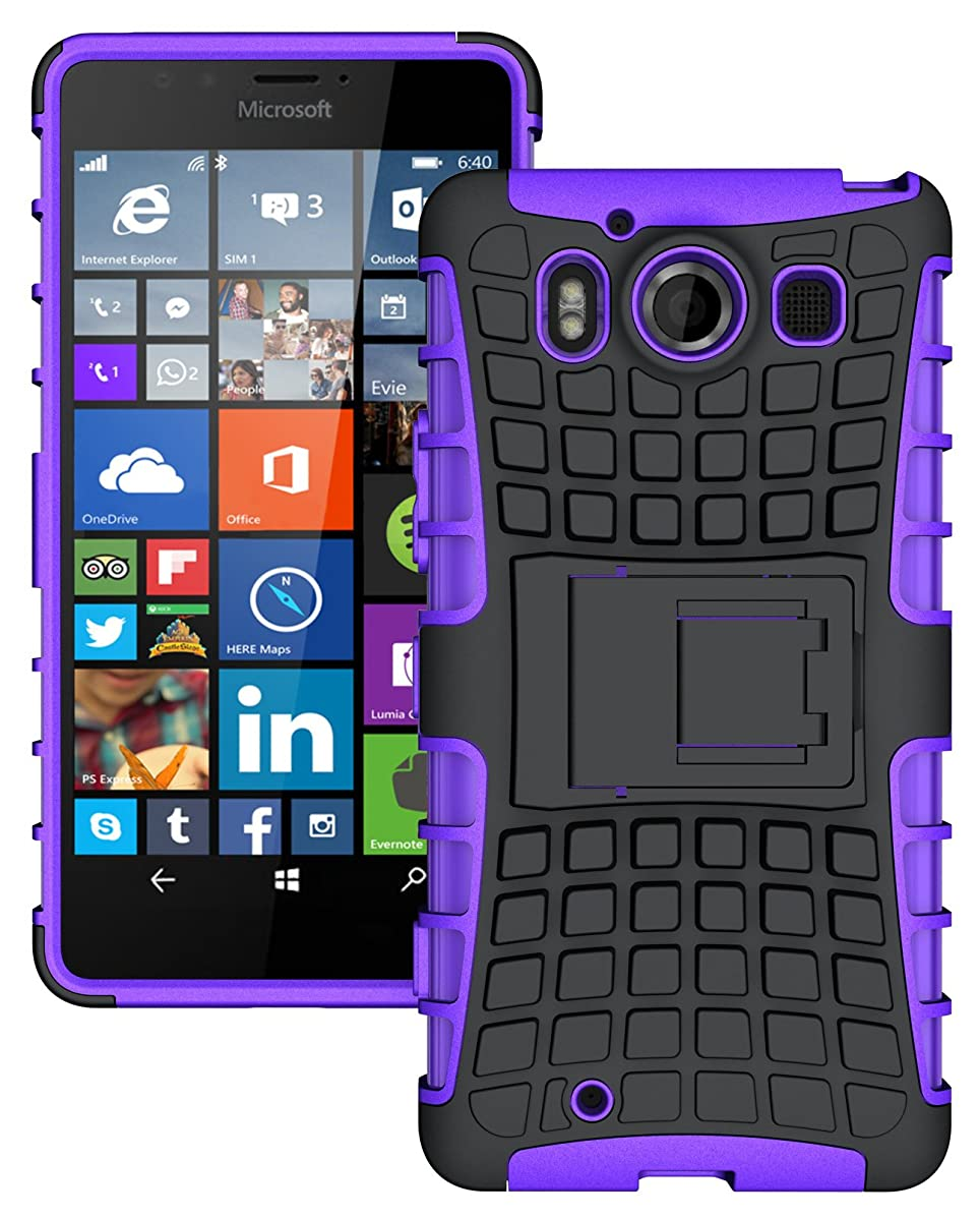 NAKEDCELLPHONE'S Purple/Black Grenade Grip Rugged TPU Skin Hard CASE Cover Stand for AT&T Microsoft Lumia 950 Phone (and Unlocked Lumia 950 Dual)