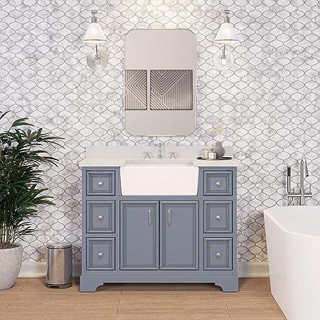 Amazon Com Zelda 42 Inch Bathroom Vanity Quartz Powder Gray Includes Powder Gray Cabinet With Stunning Quartz Countertop And White Ceramic Farmhouse Apron Sink Everything Else
