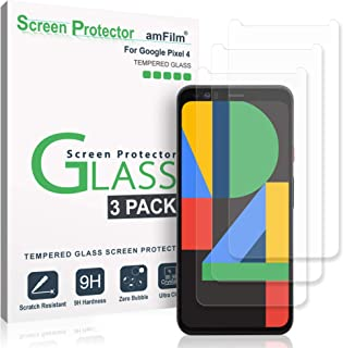 amFilm Pixel 4 Screen Protector Glass (3 Pack), Case Friendly (Easy Install) Tempered Glass Screen Protector Film for Goog...
