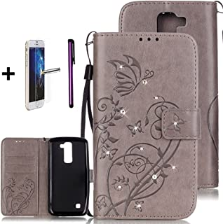 LG K7 Case, LG Tribute 5 Case, ISADENSER PU Leather Wallet Flip Case Cover with Built-in 2 Credit Card for LG K7 + 1pcs Tempered Glass Screen + 1pcs Stylus Pen (Diamonds Gray)
