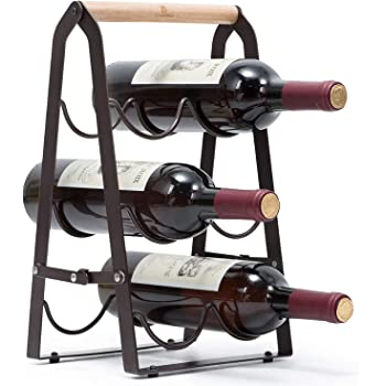 KINGRACK Countertop Wine Rack, Tabletop Wood Wine Holder for 6 Bottle Wine, 3-Tier Classic Design, Perfect for Home Decor, Bar, Wine Cellar, Basement, Cabinet, Pantry-Set of 1, Wood & Metal(Copper)