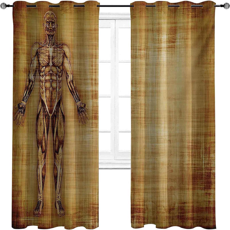 Human Anatomy Blackout Curtains with Bombing new work darken Low price Grunge Grommets Old