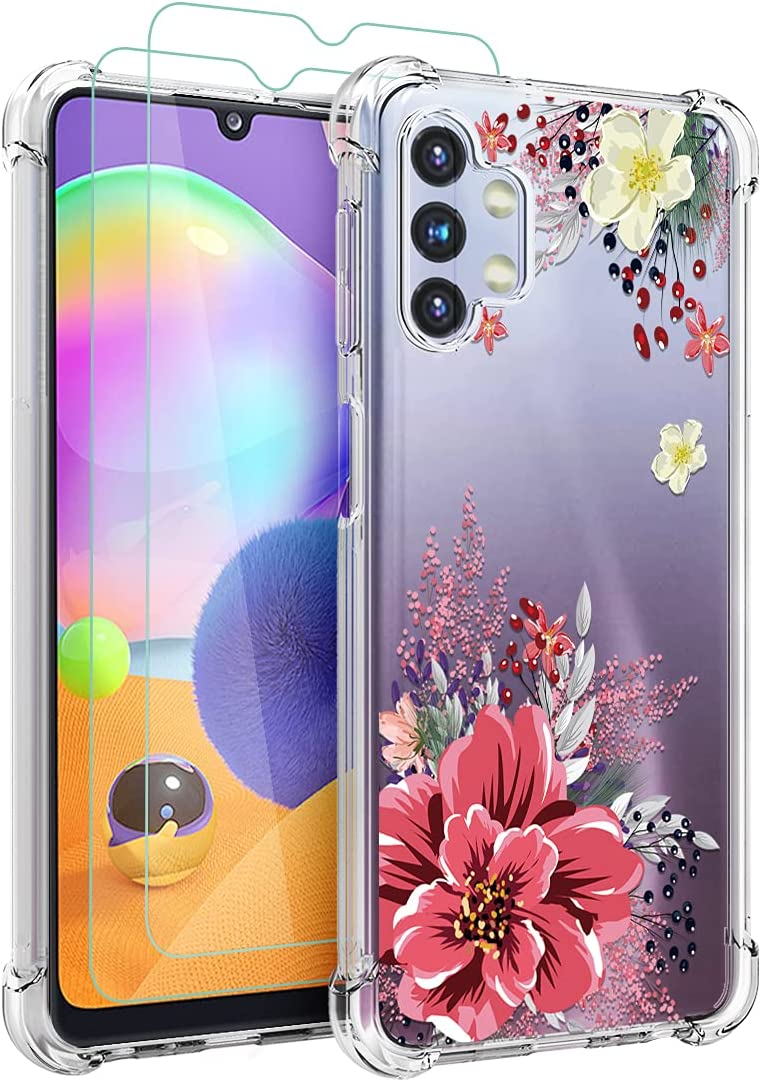 Osophter for Galaxy A32 5G Case with Screen Protector Flower Floral for Girls Women Shock-Absorption Flexible TPU Rubber Phone Cover for Samsung Galaxy A32 5G(Red Flower)
