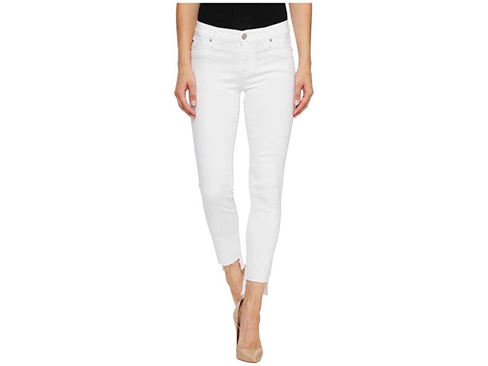 Hudson Jeans Colette Mid-Rise Skinny with Raw Step Hem in White (White) Women's Jeans