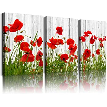Amazon Com Canvas Wall Art For Living Room Bathroom Wall Decor For Bedroom Kitchen Artwork Canvas Prints Green Plant Red Flowers Painting 12 X 16 3 Pieces Modern Framed Office Home Decorations Family