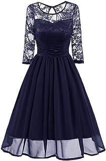 LYLE レディース ドレス レース 結婚式 パーティー フォーマル ワンピース 七分袖 ひざ丈 大きいサイズ 二次会 お呼ばれ
