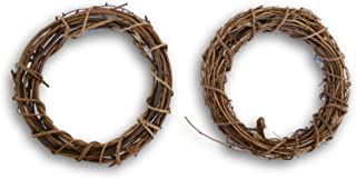 Natural Grapevine Wreath - 10.5 Inch Diameter - Set of 2