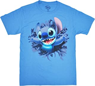 Disney Adult Unisex T-Shirt Embossed Stitch Front & Back Tee Columbia Blue