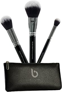 Powder Makeup Brush Set – 3pc Large Fluffy Face Make Up Brushes with Travel Case for Setting, Finishing, Buffing, Blending Loose, Pressed, Compact, Mineral Cosmetics; Synthetic, Vegan, Cruelty Free