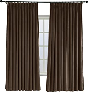 TWOPAGES 52 W x 84 L Pinch Pleated Curtains Room Darkening Velvet Curtain Drapery Panel for Traverse Rod Or Track, Living Room Bedroom Meetingroom Club Theater Patio Door (1 Panel), Chocolate
