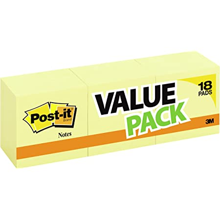 Post-it Notes, 3x3 in, 18 Pads, America's #1 Favorite Sticky Notes, Canary Yellow, Clean Removal, Recyclable (654-14+4YW)