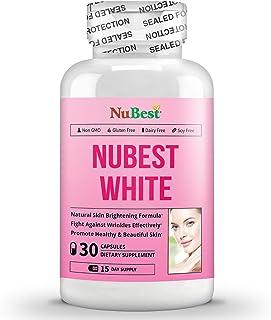 NuBest White 30 Capsules - Natural Skin Brightening Formula with Glutathione, Milk Thistle Extract, L-Cysteine, Precious H...