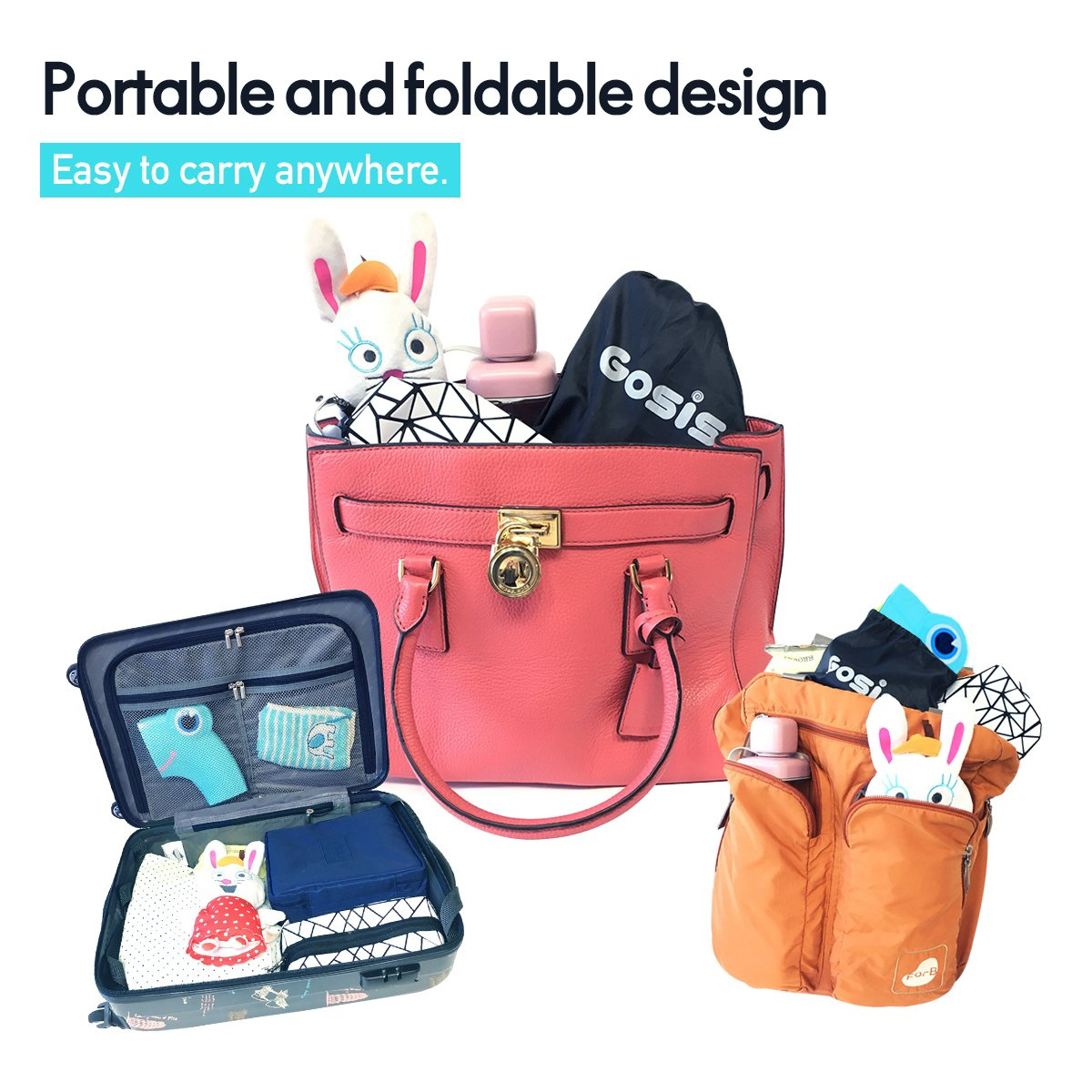 Gosis Folding Travel Portable Toilet Potty Training Seat Covers with Carry Bag for Toddler, Baby and Kids (Sky Blue)