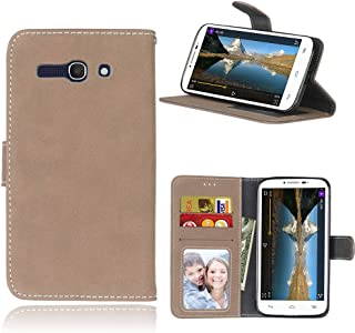 Case For Alcatel One Touch Pop C9 7047A 7047D ,Matting PU Leather Protection 3 Card Slots Wallet Flip Case Cover(Beige)