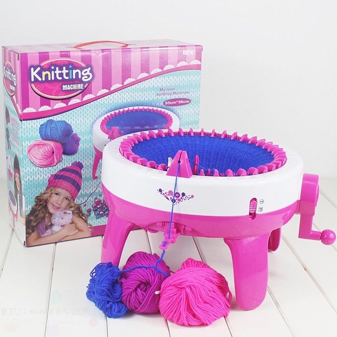 定常タイヤドックSaikogoods おかしいデザイン子供女の子編機DIYマニュアル帽子スカーフ編み機ニットセーターのおもちゃ子供のための ピンク&ホワイト