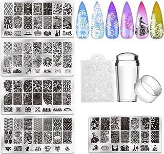 Biutee 5Pcs Nail Stamping Plates + 1 Stamper + 1 Scraper Lace Flower Animal Pattern Nail Art Stamp Stamping Template Image...