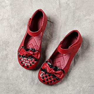 2019 Spring New Mother Single Shoes Hand-Woven Flat Bottom Non-Slip Color Matching Middle-Aged Casual Shoes (Color : Red, Size : 35)