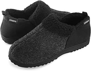 Men's Cozy Memory Foam Slippers with Warm Fleece Lining, Wool-Like Blend Micro Suede House Shoes with Anti-Slip Indoor Outdoor Rubber Sole