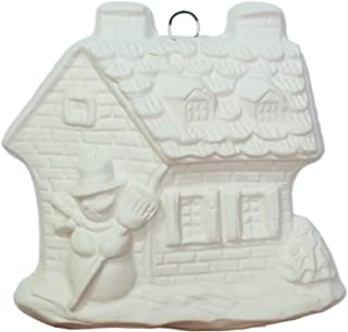 Gingerbread House Christmas Ornament - Ready to Paint (Unpainted) Ceramic Bisque - Handmade in USA