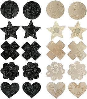 TINKSKY Pasties Bra Disposable Sexy Flower Pasties Self Adhesive Stickers Nipple Cover Stickers 10 Pairs Black Nude
