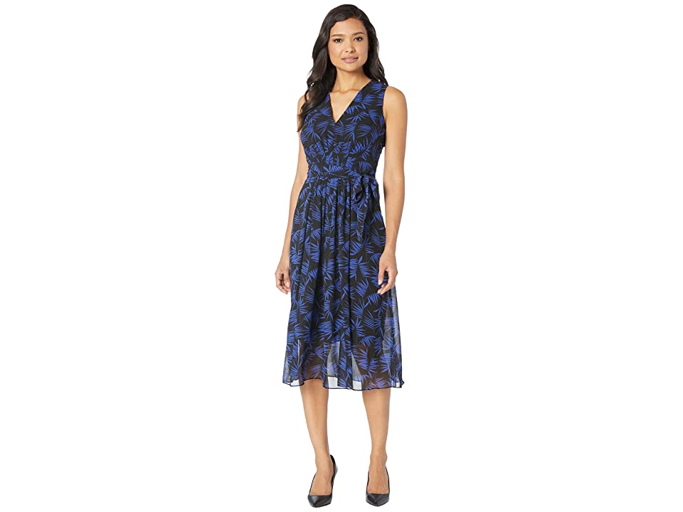 Anne Klein Delphine Print Midi Dress (Anne Black/Gauguin) Women