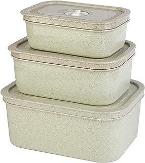 Rangement Frigo, Boite Alimentaire Plastique, Lot de 3 boîte de Conservation Alimentaire PP Plastique et La paille de blé,...