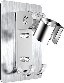Strong Adhesive Shower Head Holder CACASO Adjustable Shower Wand Holder,Handheld Shower Head Wall Mount Bracket With 2 Hanger Hooks,Showerhead &Bidet Sprayer Bracket Better than Suction Cups