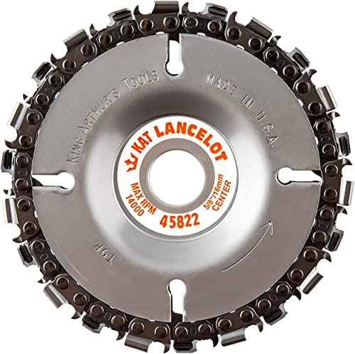"""popular King Arthur's Tools Patented sale Lancelot 22 Tooth Circular Saw Blade Carving Disc for Woodworking, Removal, Cutting, and 2021 Shaping - 5/8"""" Bore, Fits Most Standard 4 1/2"""", 115-125mm Angle Grinders #45822 outlet online sale"""