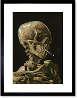 Van Gogh Head Skeleton Burning Cigarette Framed Wall Art Print