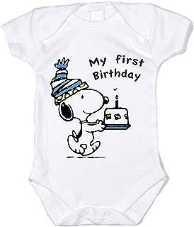 Peanuts Snoopy Birthday My First Birthday Blue Unisex Baby Bodysuit