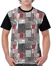 Lightly Men T Shirts Fashion,Modern,Squares with Stripes Design S-XXL Print Short Sleeve