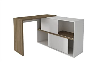 BRV Móveis Computer Desk Two Doors, Oak with White, 107 cm x 120 cm x 78 cm, BC 44-47