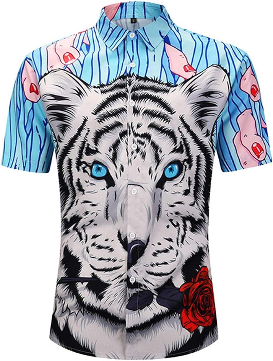 Summer Men's Shirt Creative Tiger Head Print Short Sleeve T-Shirt Street Fashion Men's Loose Polo Shirt Top